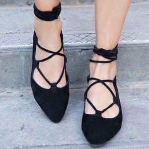 Jeffrey Campbell Atsuko Lace Up Suede Ballet Flats
